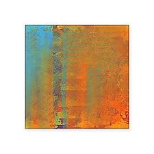 """Abstract in Aqua, Copper an Square Sticker 3"""" x 3"""""""