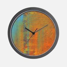 Abstract in Aqua, Copper and Gold Wall Clock