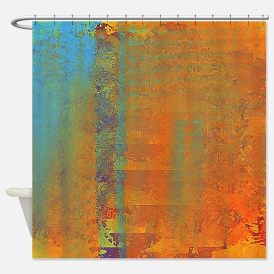 Abstract in Aqua, Copper and Gold Shower Curtain