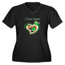 I Love Irish Women's Plus Size V-Neck Dark T-Shirt