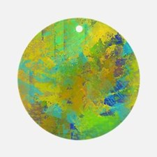 Abstract, Aqua, Copper, Gold, Blue Round Ornament