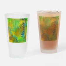 Abstract, Aqua, Copper, Gold, Blue Drinking Glass