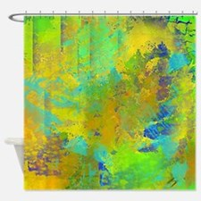 Abstract, Aqua, Copper, Gold, Blue Shower Curtain