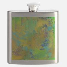 Abstract, Aqua, Copper, Gold, Blue Flask