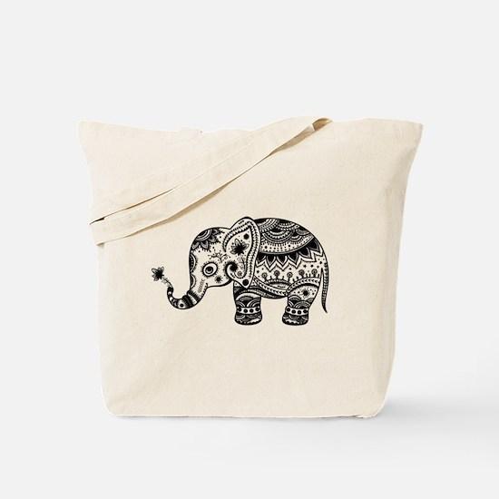 Cute Floral Elephant In Black Tote Bag