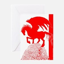 Pegasus Red Shadow Greeting Card