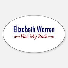 """""""Warren Has My Back"""" Sticker (Oval)"""