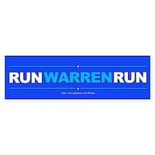 """""""Run Warren Run"""" Bumper Sticker"""