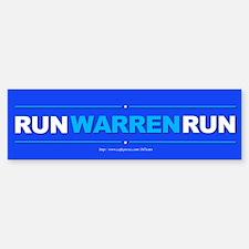 """Run Warren Run"" Bumper Bumper Sticker"