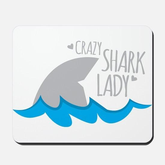 Crazy Shark Lady Mousepad