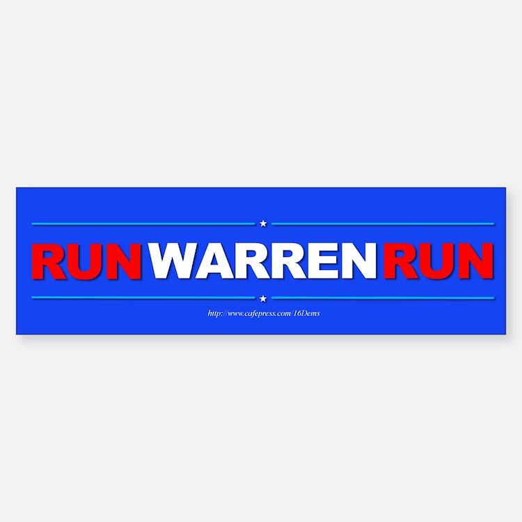 """""""Run WARREN Run"""" Sticker (Bumper)"""