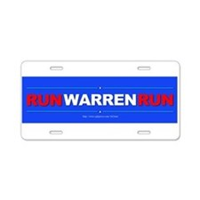 """Run WARREN Run"" Aluminum License Plate"