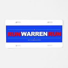 """Run WARREN Run"" Aluminum License Plate"