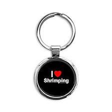 Shrimping Round Keychain