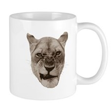 Annoyed Snarling Lion Cat Mugs