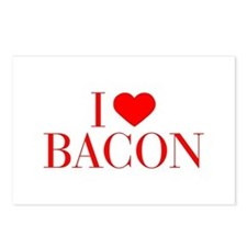 I love Bacon-Bau red 500 Postcards (Package of 8)