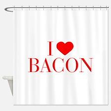 I love Bacon-Bau red 500 Shower Curtain