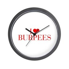 I love Burpees-Bau red 500 Wall Clock