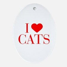 I love Cats-Bau red 500 Ornament (Oval)