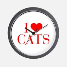 I love Cats-Bau red 500 Wall Clock