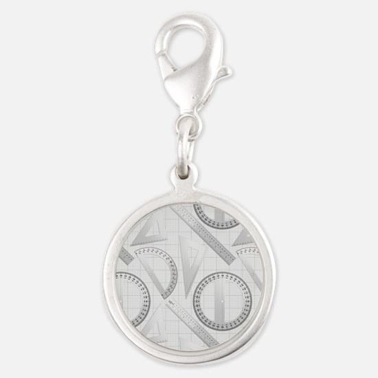 Geometry Student Silver Round Charm