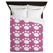 Dusty Rose Dog Paw Queen Duvet