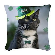 St. Patrick kitty Woven Throw Pillow