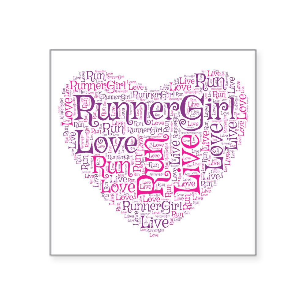 1517870451 CafePress Runnergirl Heart Sticker Square Sticker