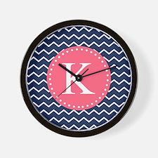 Navy Chevron Pink Monogram Wall Clock