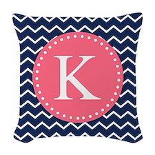 Navy Chevron Pink Monogram Woven Throw Pillow