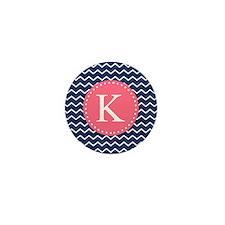 Navy Chevron Pink Monogram Mini Button