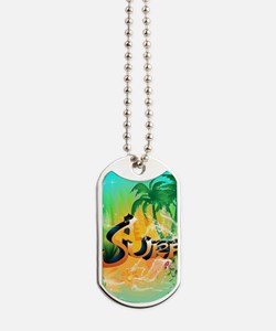 Beautiful tropical design with the word, surf Dog