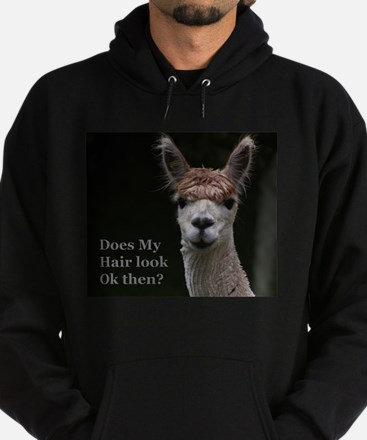 Alpaca with funny hairstyle Hoodie (dark)