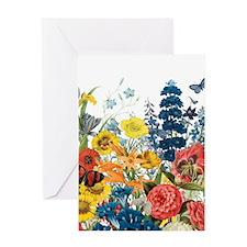 modern vintage flowers Greeting Cards