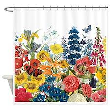 modern vintage flowers Shower Curtain