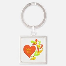 Calico Heart Square Keychain