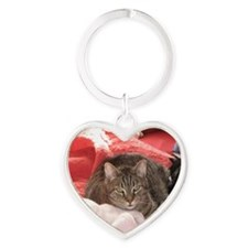 Funny Cat animals Heart Keychain