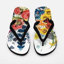 modern vintage flowers Flip Flops