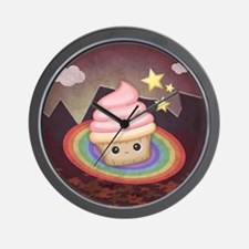 Sweet Rainbow Cupcake Wall Clock