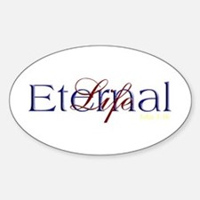 Blue Red Eternal Life Oval Decal