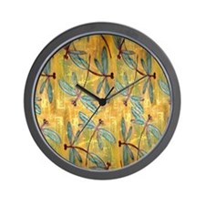 Dragonfly Golden Haze Wall Clock