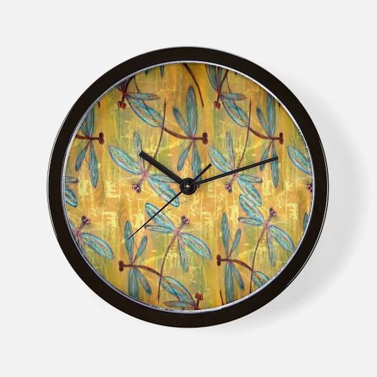 Dragonfly Golden Haze Wall Clock