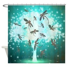 Dragonfly Glow Tree Shower Curtain