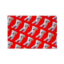 Red Maltese Cutie Fluffy Repetition Dog 4 Magnets