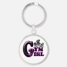 Gym Girl Design 1c Round Keychain