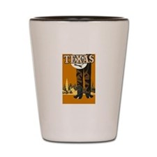 Texas Vintage Travel Poster Shot Glass