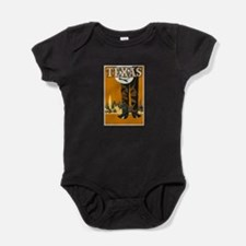 Texas Vintage Travel Poster Baby Bodysuit