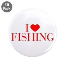 """I love Fishing-Bau red 500 3.5"""" Button (10 pack)"""