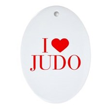 I love Judo-Bau red 500 Ornament (Oval)