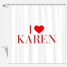 I love KAREN-Bau red 500 Shower Curtain